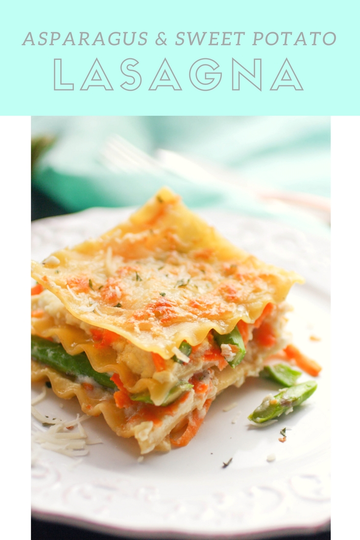 Asparagus and Sweet Potato Lasagna is a wonderfully creamy lasagna you'll love! Asparagus and Sweet Potato Lasagna is colorful and flavorful and perfect for a spring meal.