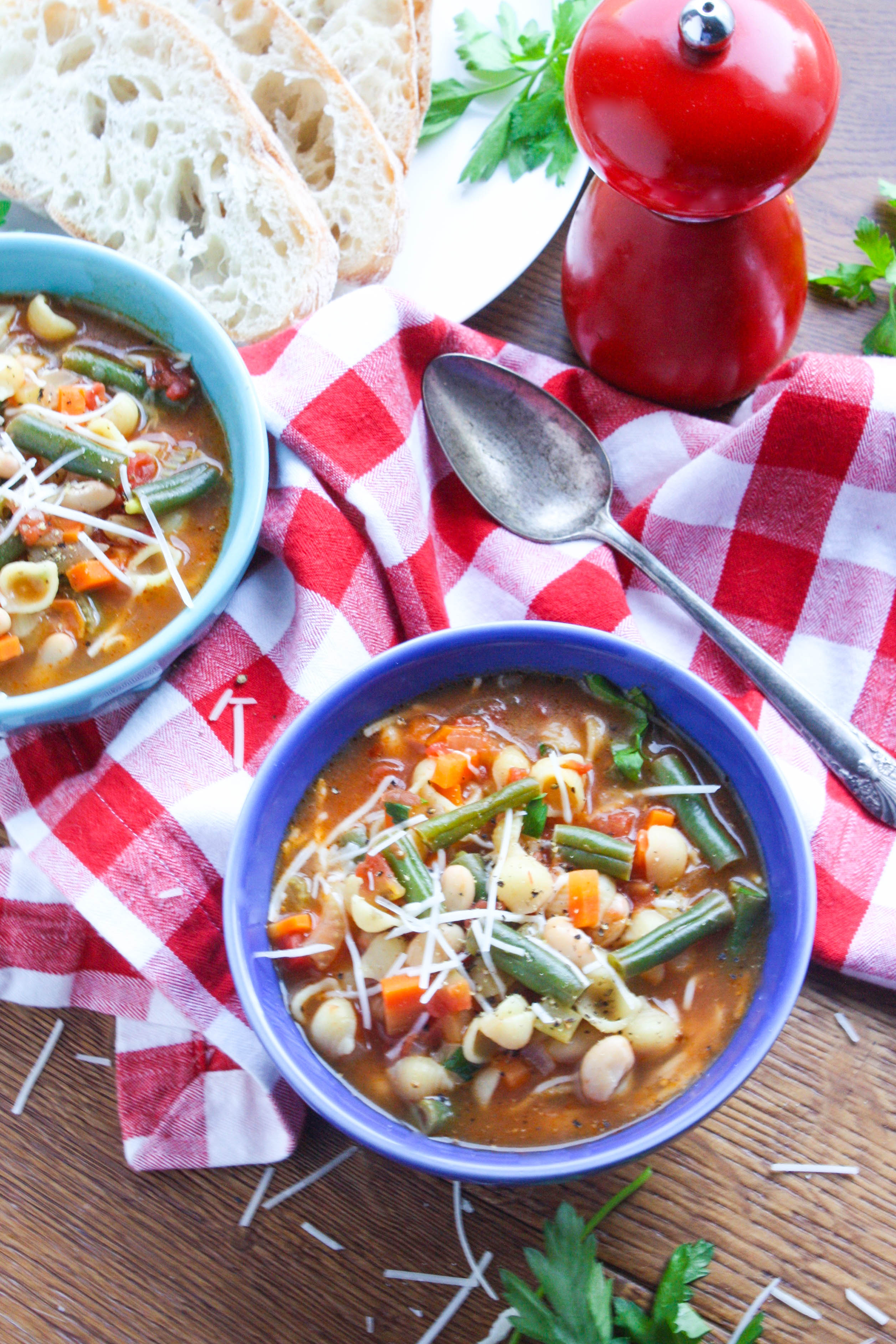 Minestrone Soup is filled with veggies, beans, and pasta. You'll love minestrone soup as a tasty meatless dish.