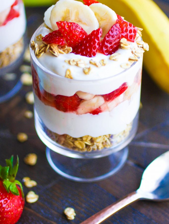 No Bake Strawberry-Banana Cheesecake Parfaits are the perfect treat for summer. No oven required to make No Bake Strawberry-Banana Cheesecake Parfaits!