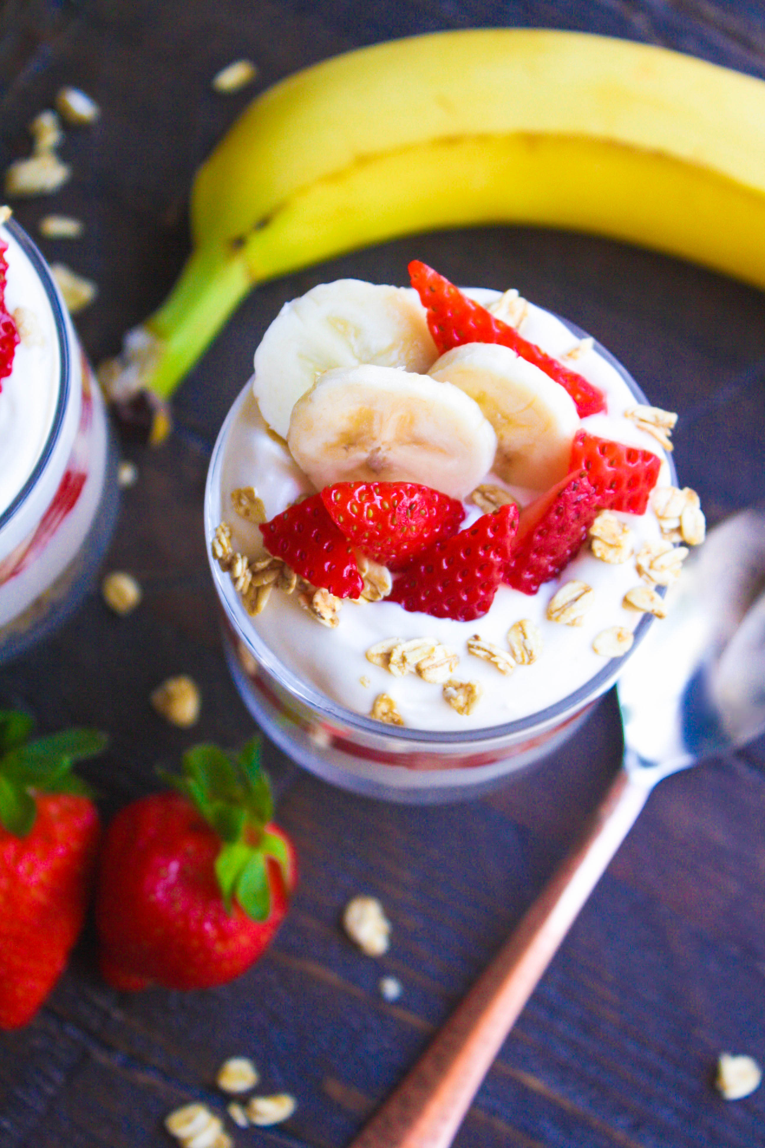 No Bake Strawberry-Banana Cheesecake Parfaits are so easy to make. They're delicious with fresh fruit layered with other goodies. You'll love No Bake Strawberry-Banana Cheesecake Parfaits!