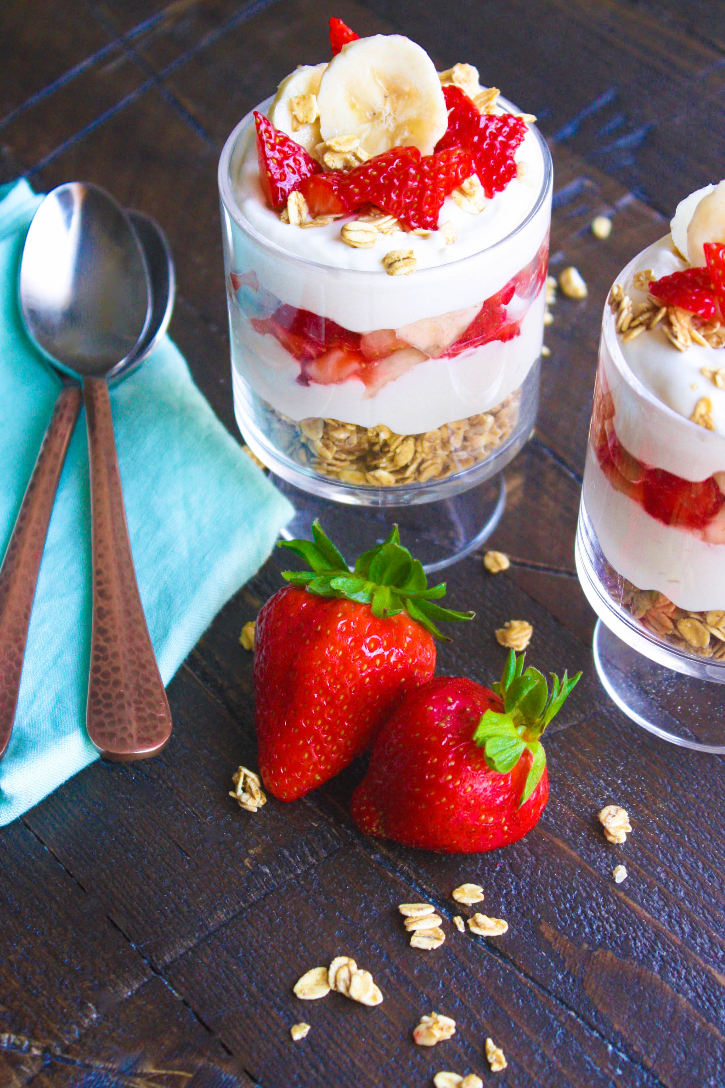Grab a spoon and dig right in to No Bake Strawberry-Banana Cheesecake Parfaits -- what a great treat! No Bake Strawberry-Banana Cheesecake Parfaits make a lovely, fun dessert!