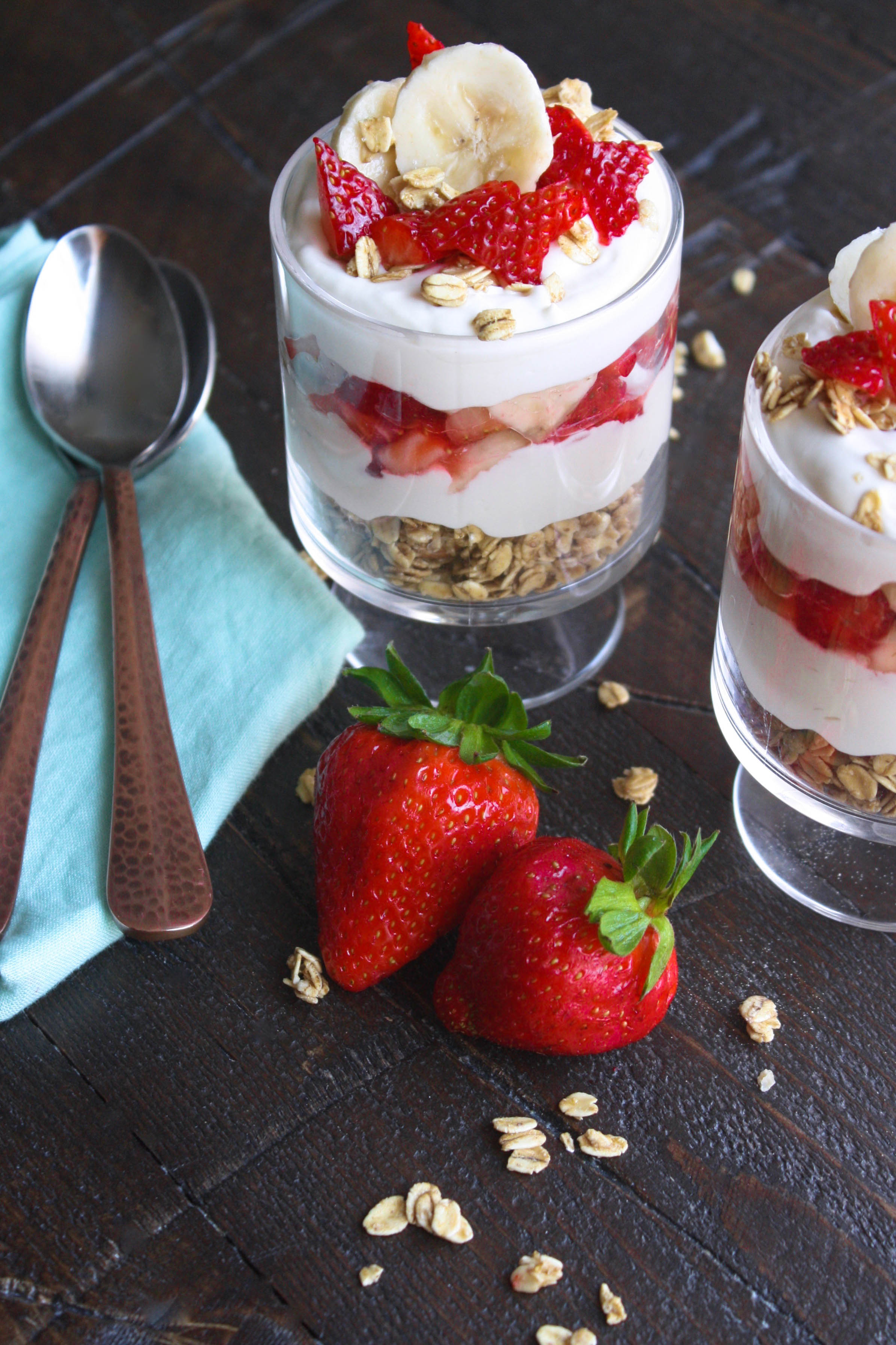 No Bake Strawberry-Banana Cheesecake Parfaits are a delightful dessert. Pile the cheesecake filling with granola and fresh fruit for a wonderful no-bake treat.