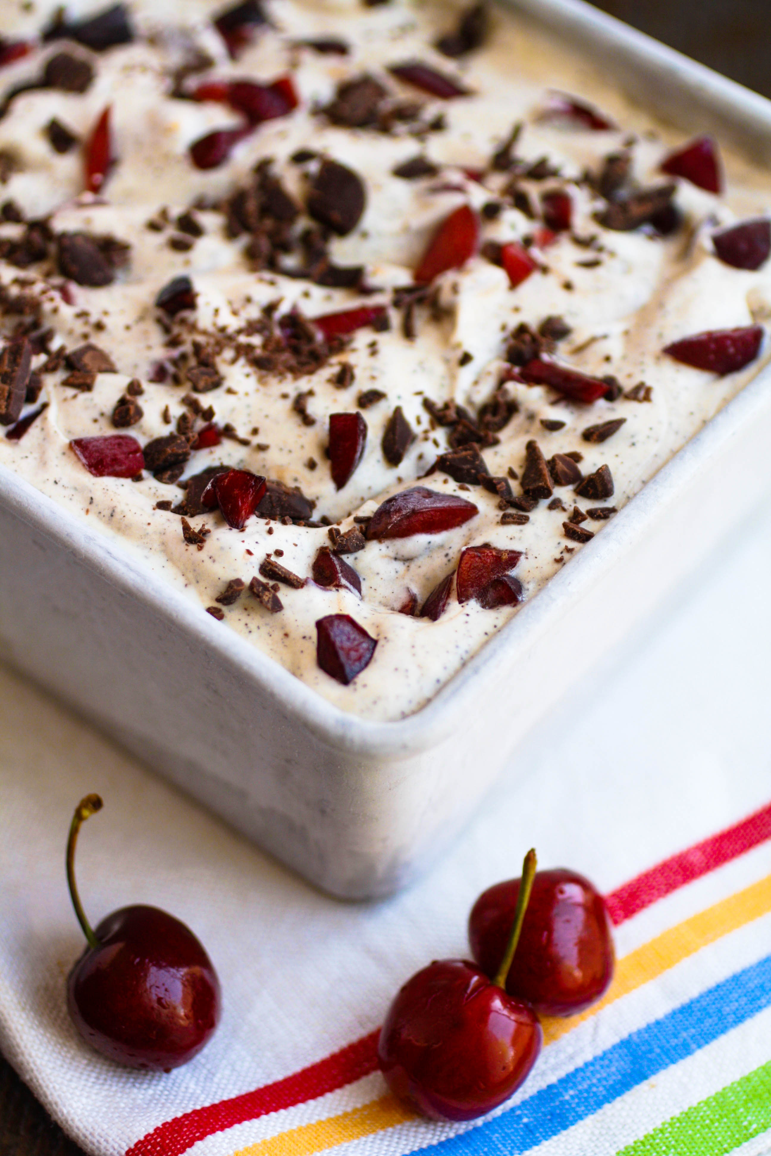 No Churn Cherry Chocolate Chip Espresso Ice Cream is a delicious frozen goodie! Make a batch today (it's so easy to make, no ice cream maker needed)!