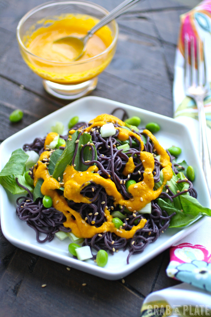 Delight in Cold Noodle Salad with Carrot-Ginger Dressing!