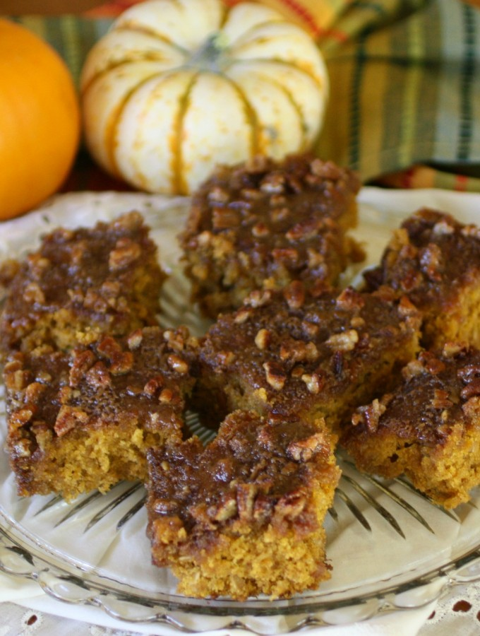 Oatmeal Pumpkin Cake with Pecan Glaze