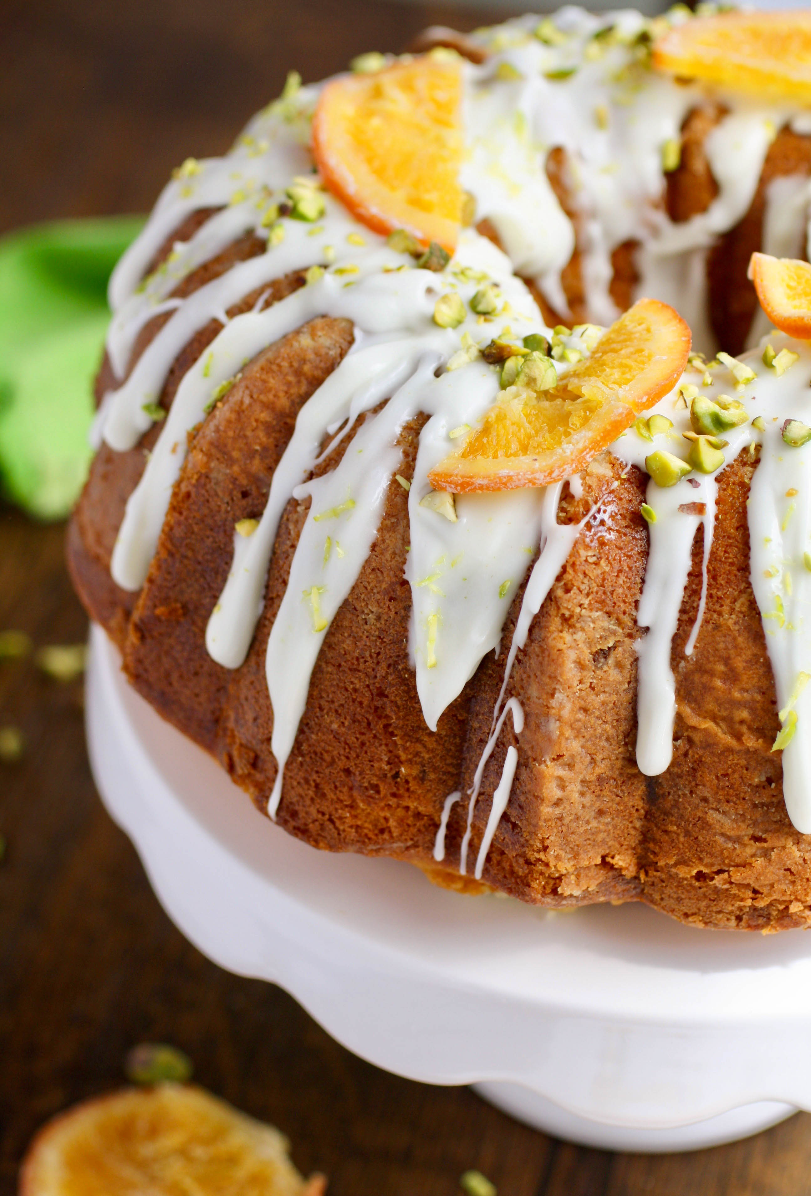 Orange Marmalade-Pistachio Bundt Cake is a lovely, special dessert. Make one for Easter or for any occasion.
