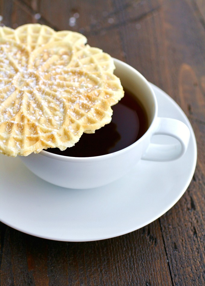 You'll find Orange-Amaretto Pizzelle Cookies go well with a cup of hot coffee!