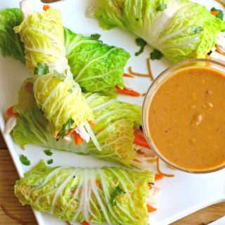 Napa Summer Rolls with Chicken & Spicy Peanut Sauce are perfect in the summer months!