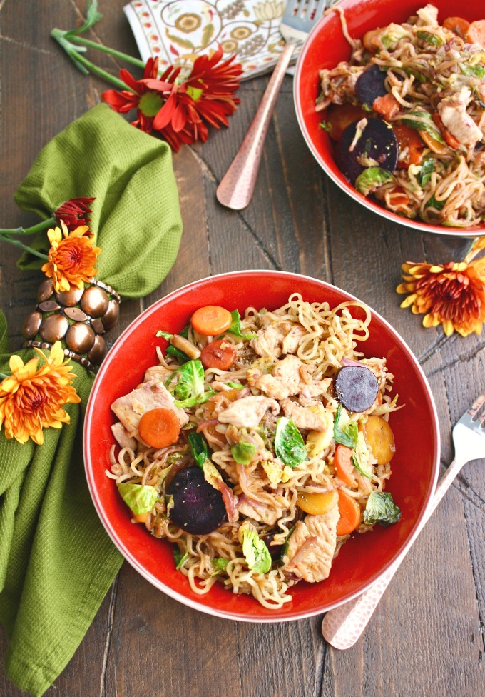 You'll love the ingredients in Turkey Stir-Fry with Noodles in Chili-Orange Sauce -- it's a nice alternative dish to serve on Thanksgiving!