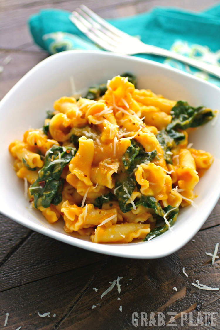 Pasta with Kale and Creamy Butternut Squash Sauce makes a delightful, meatless meal!