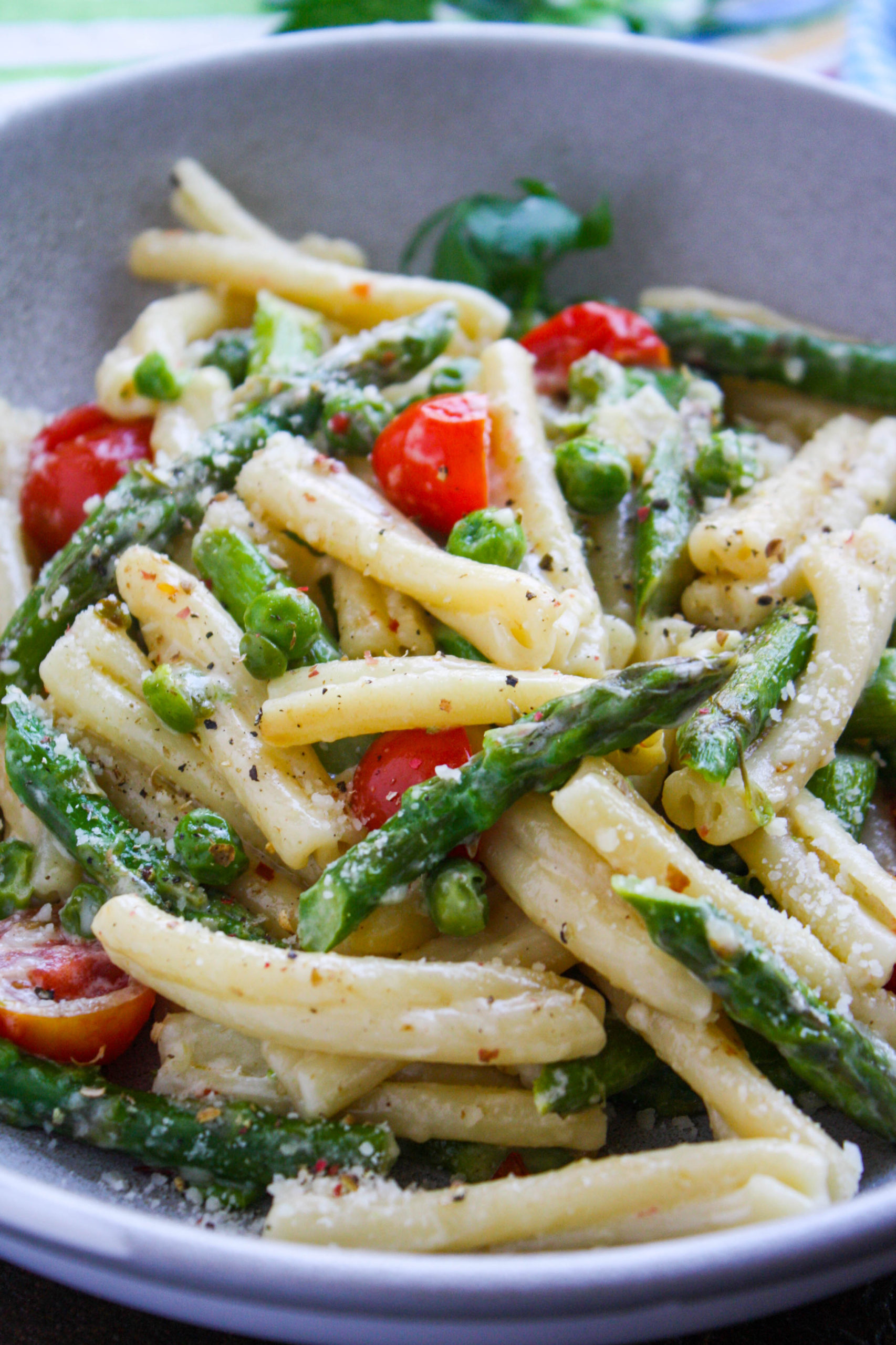 Pasta Primavera in Light Cream Sauce is a delight any night of the week.