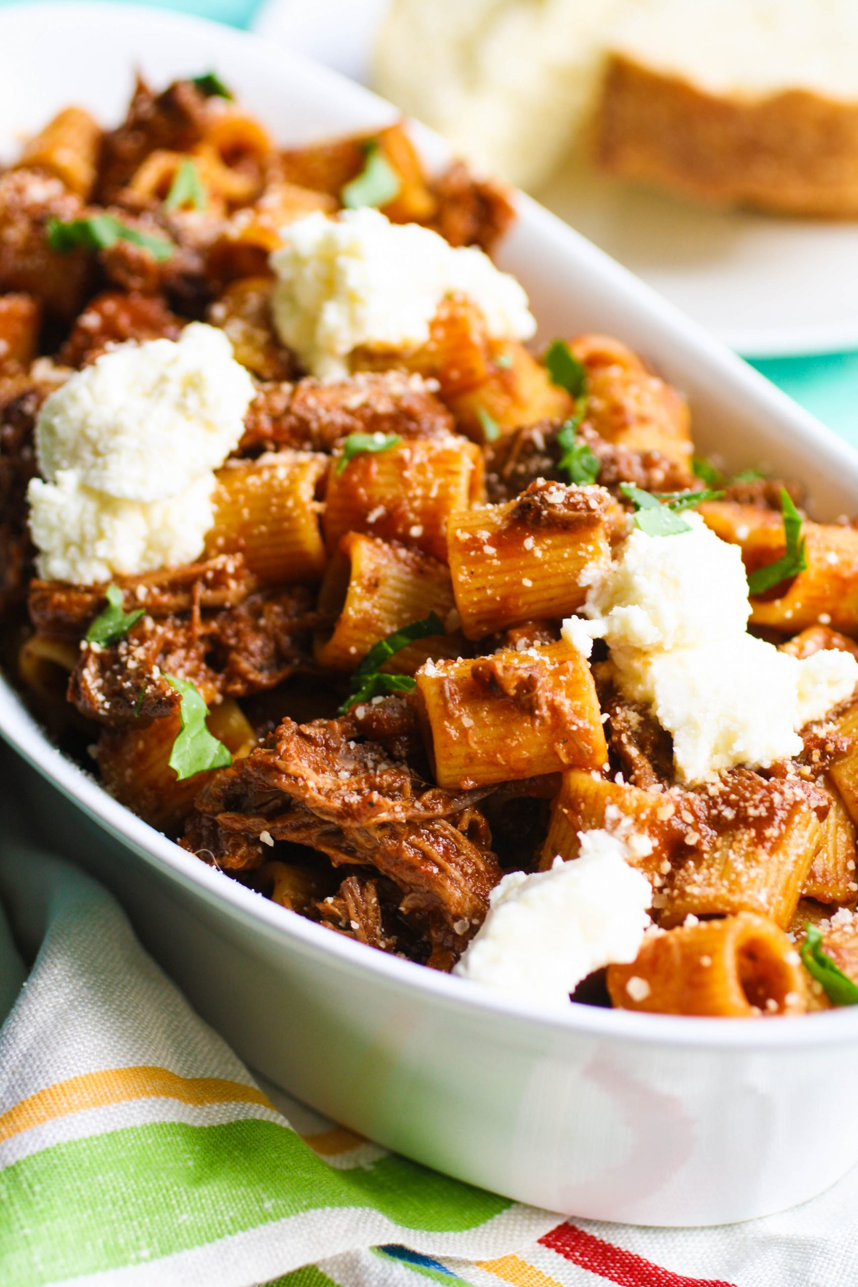 Pasta with short ribs and ricotta is a creamy and delicious dish.