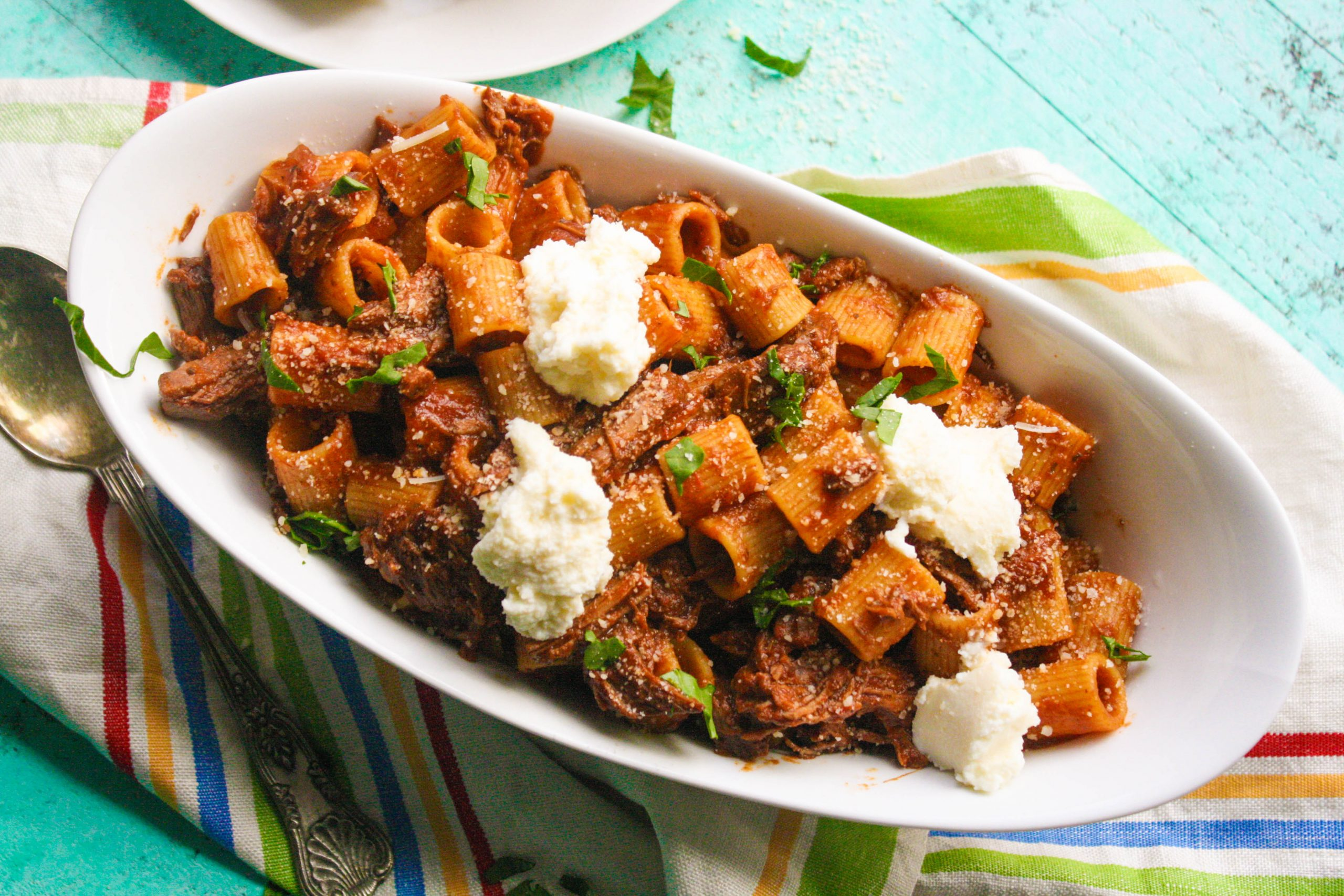 Pasta with short ribs and ricotta is a lovely dish with creamy ricotta as a bonus!