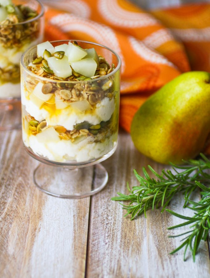Pear and Ricotta Parfaits with Rosemary-infused Honey is a simple treat you'll enjoy. These pear parfaits are perfect for dessert, or breakfast!