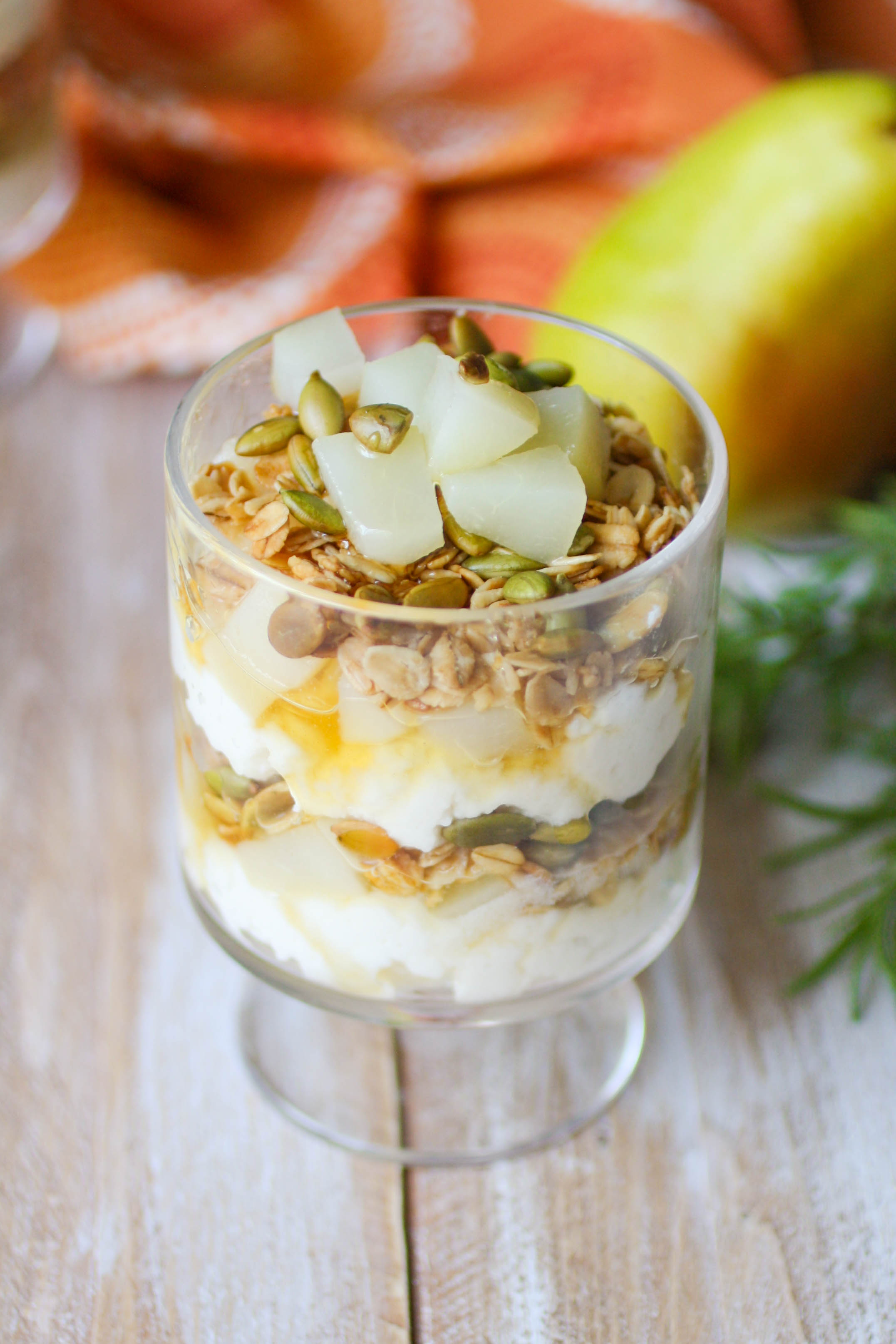 Pear and Ricotta Parfaits with Rosemary-Infused Honey are perfect for breakfast, or for a simple dessert. You'll love these pear parfaits and all their goodness!