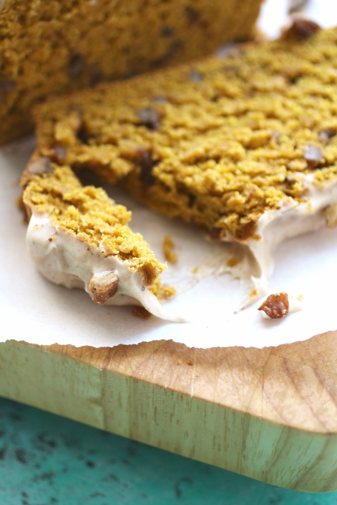 Rich, moist and spicy, you'll love Pecan-Pumpkin Bread with Chai Cream Cheese Frosting as a fall treat!