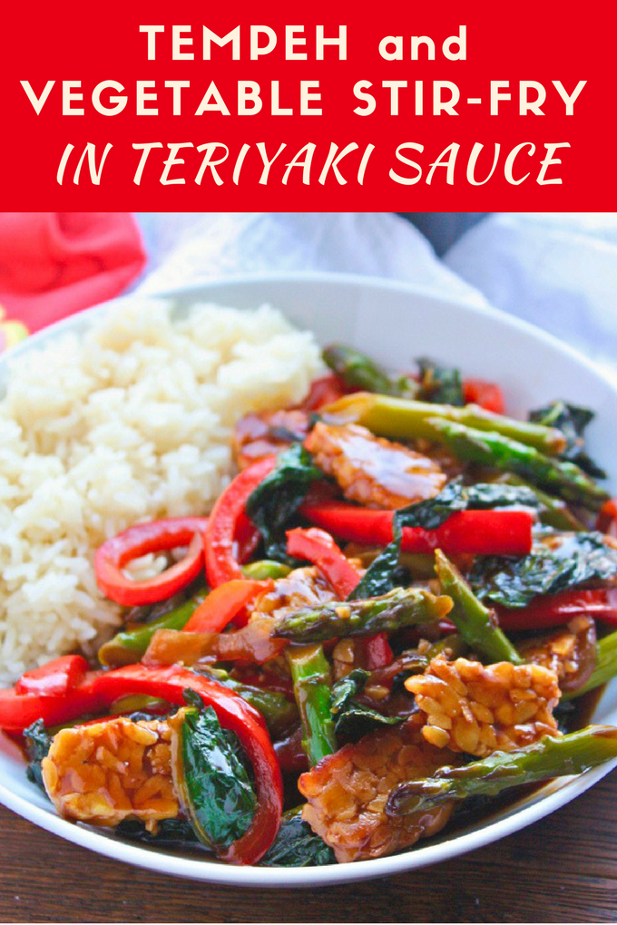Tempeh and Vegetable Stir-Fry in Teriyaki Sauce is a delightful, meatless dish! It's great any night of the week!