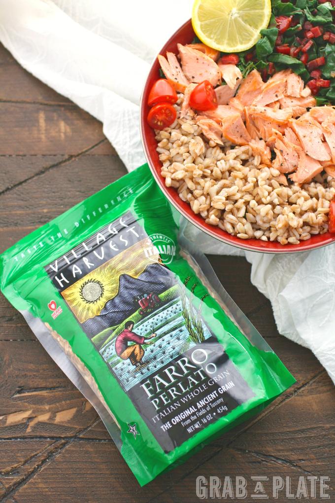 Village Harvest Farro is fabulous in this recipe for Warm Farro, Salmon & Swiss Chard Bowls with Lemon Vinaigrette