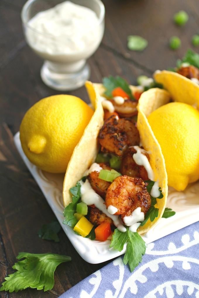 Any day is a great day to enjoy Blackened Shrimp Tacos & Creamy Garlic-Lemon Sauce!