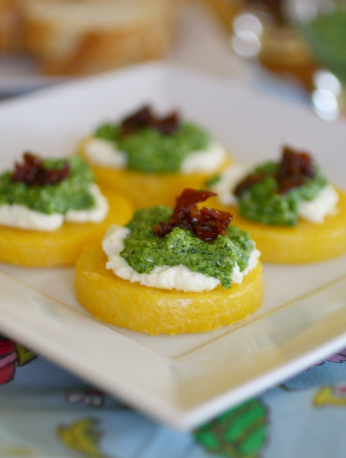 Polenta Cakes with Goat Cheese and Kale Pesto