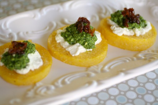 For a wonderful appetizer, try Polenta Cakes with Goat Cheese and Kale Pesto