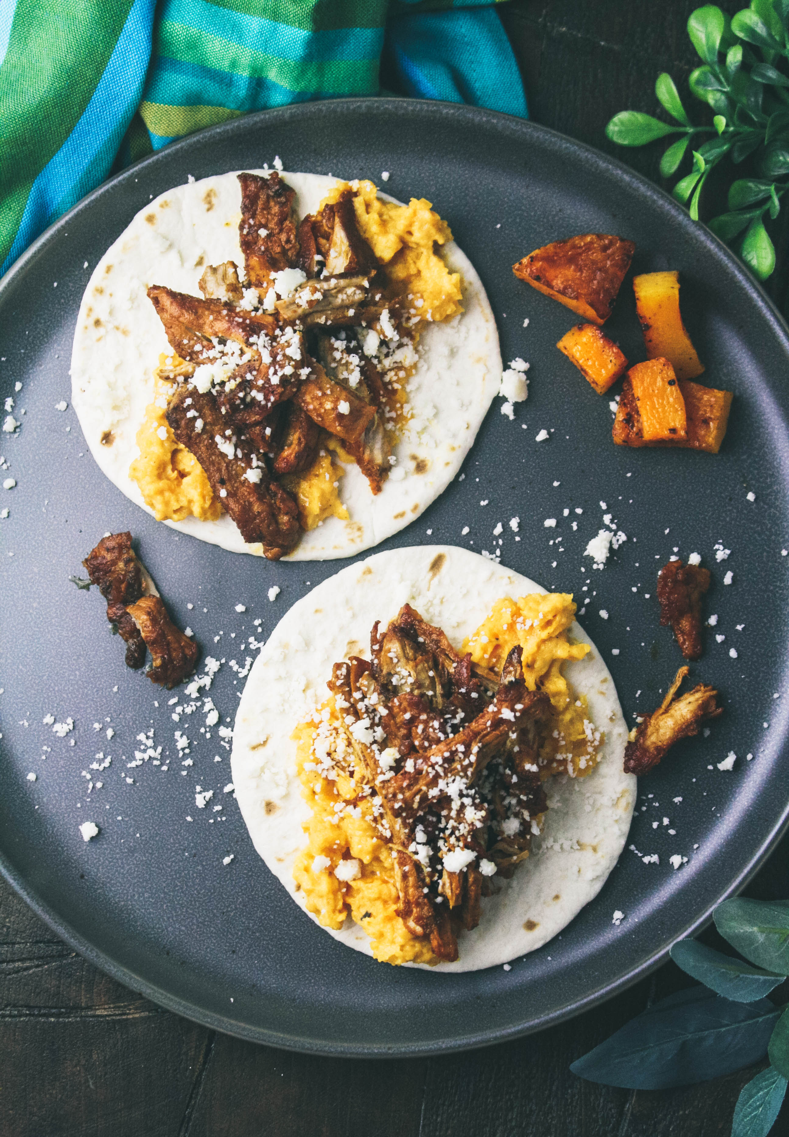 Pork Carnitas Tacos with Butternut Squash Puree are a delightful dinner option. Make Pork Carnitas Tacos with Butternut Squash Puree for your next dinner.