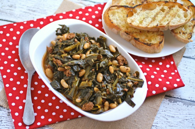 A traditional dish perfect for New Year's Day, Quick Collard Greens with Sausage and Beans is a delight!