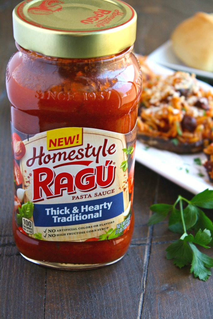 Ragu Homestyle Thick & Hearty Traditional Pasta Sauce is perfect for Orzo & Olive Stuffed Portobello Mushrooms!