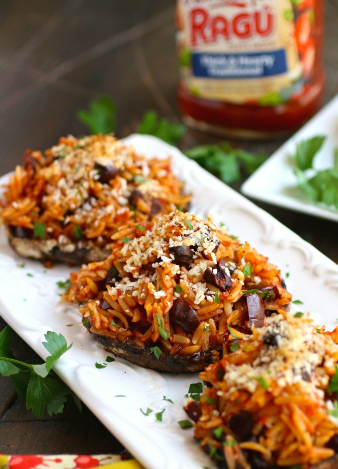 Orzo & Olive Stuffed Portobello Mushrooms is an easy dish that is filling and flavorful. It's great for Meatless Monday, too!
