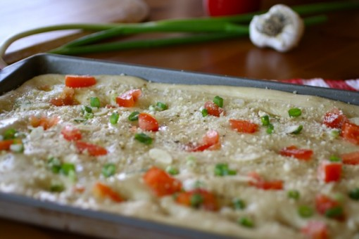 Ready to bake: Focaccia with Tomato, Green Onion and Garlic