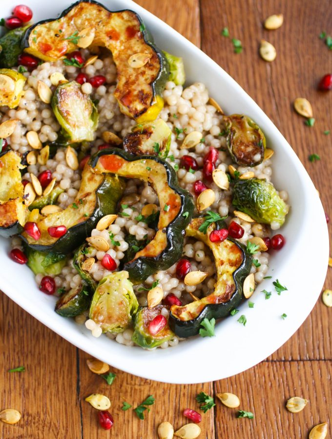 Roasted Fall Vegetable and Couscous Salad with Pomegranate Vinaigrette