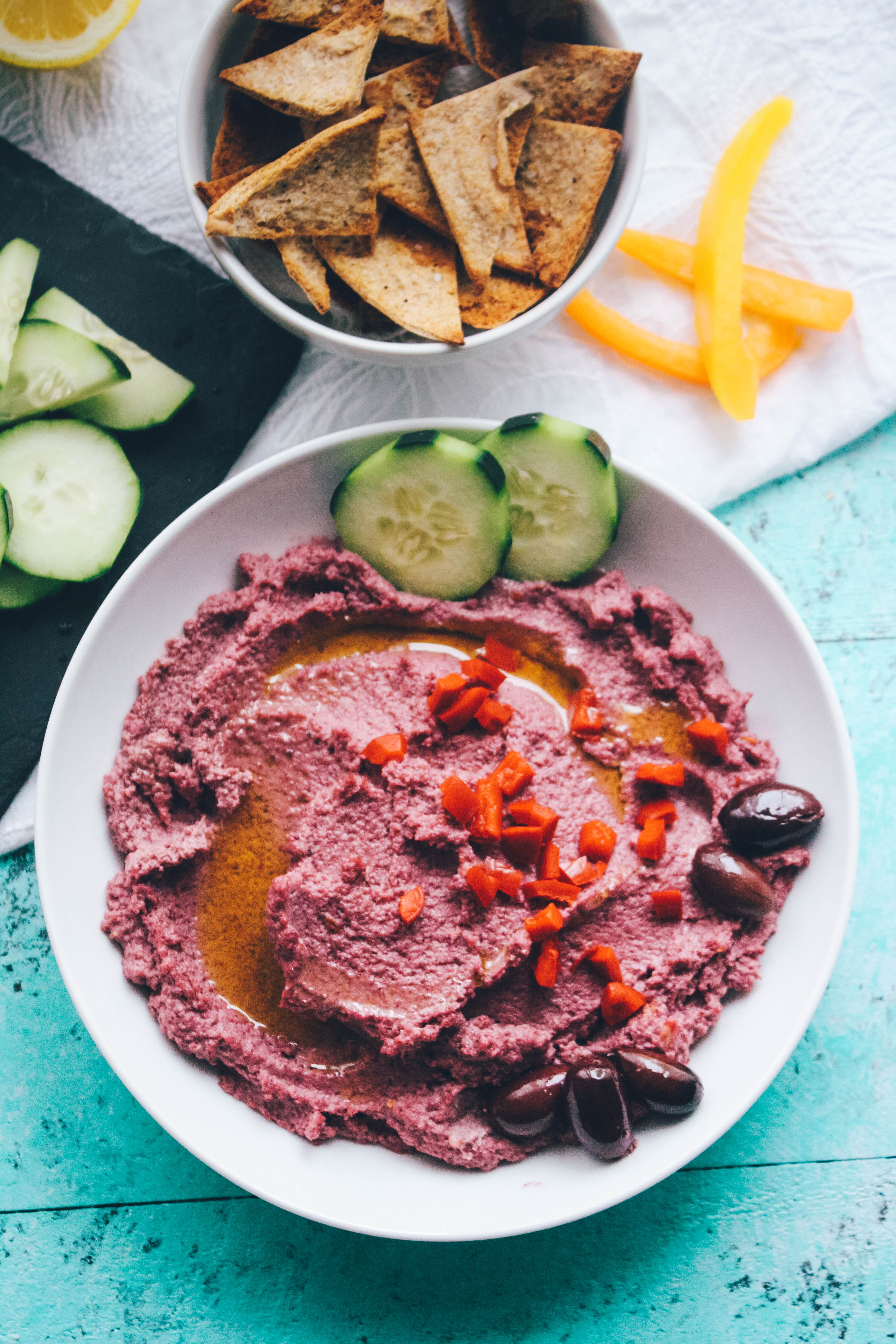 Roasted Garlic and Purple Cauliflower Hummus is a delightful snack or appetizer. Roasted Garlic and Purple Cauliflower Hummus is great if you're looking for a lower-carb snack!