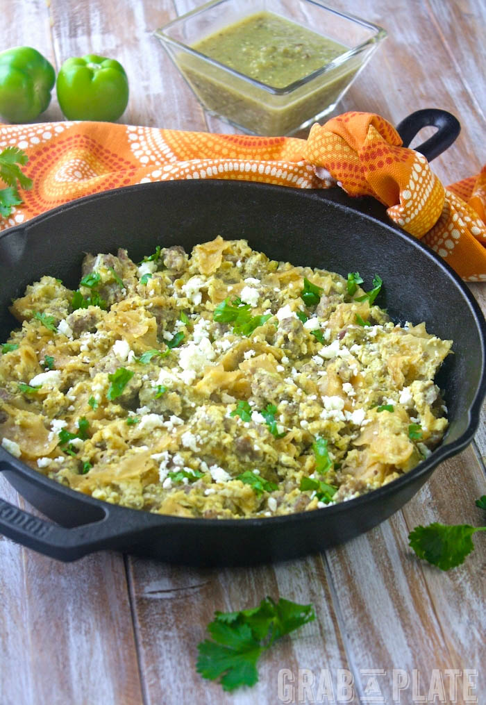 Skillet Pork Migas with Roasted Tomatillo Salsa is a fun breakfast dish. But you can serve it any time of day!
