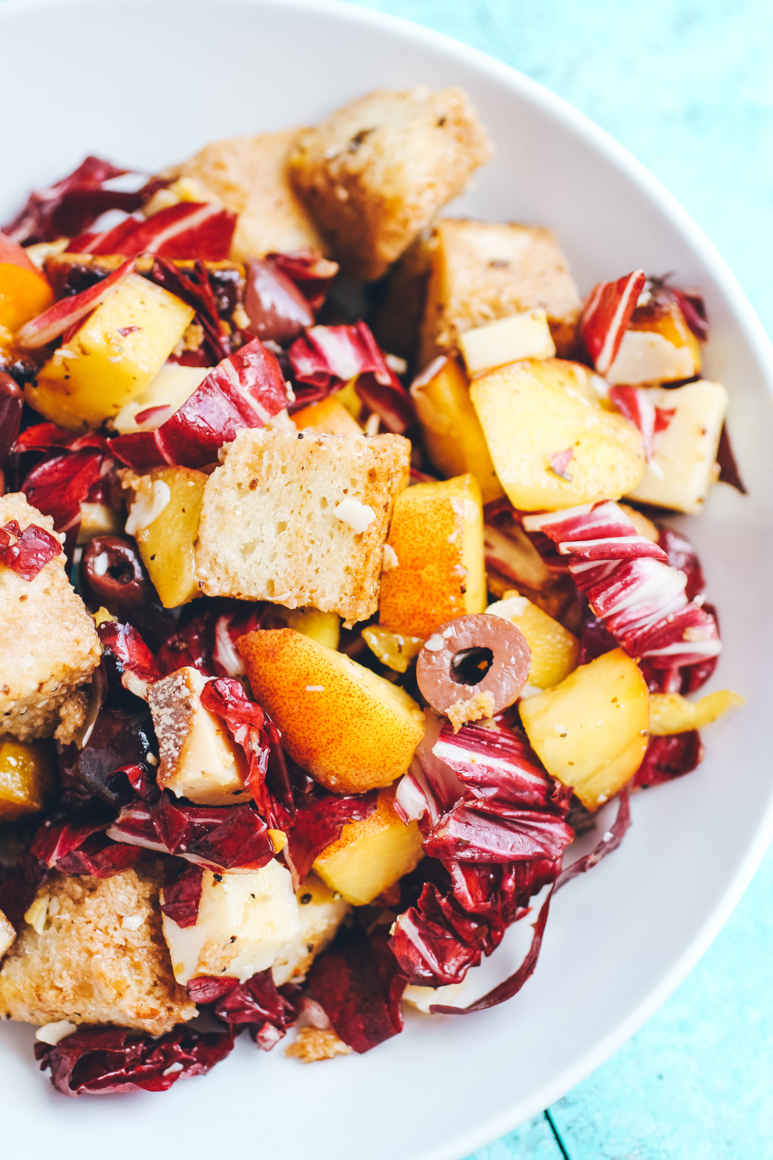 Roasted Beet, Peach & Radicchio Panzanella Salad is filled with great ingredients with big flavor! Roasted Beet, Peach & Radicchio Panzanella Salad is hearty and fun for a summer salad for dinner.