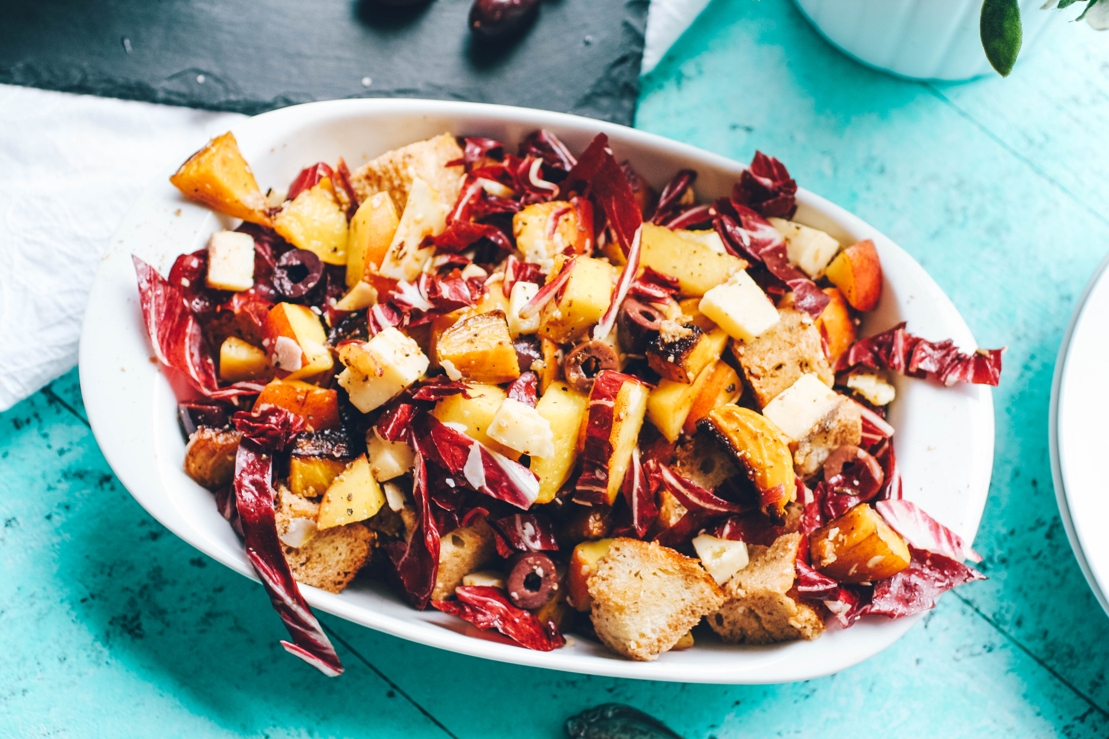 Roasted Beet, Peach & Radicchio Panzanella Salad is a salad that's filling and big on flavor. Dig into Roasted Beet, Peach & Radicchio Panzanella Salad for your next meal.