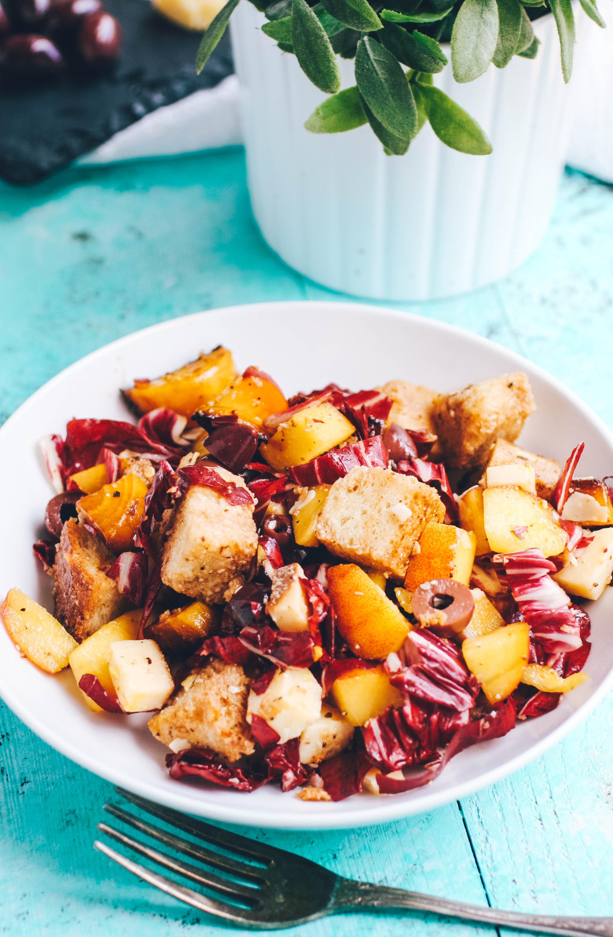 Roasted Beet, Peach & Radicchio Panzanella Salad is an amazing summer meal. You'll enjoy the big flavors and colors in Roasted Beet, Peach & Radicchio Panzanella Salad.