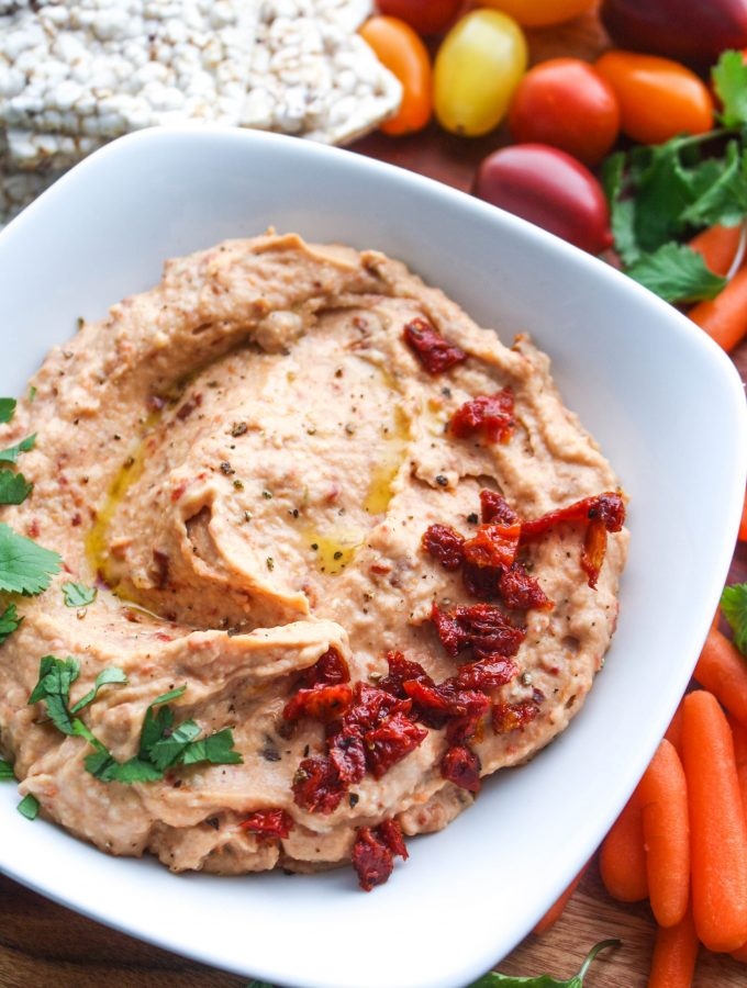 Two Options for Healthy Snacks: Roasted Garlic and Sun-Dried Tomato Hummus and FAGE Total Split Cups