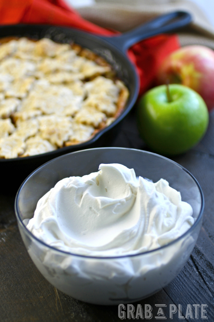 A bowl of Salted Caramel Whipped Topping to add to Skillet Apple Pie - perfect as a Thanksgiving treat!