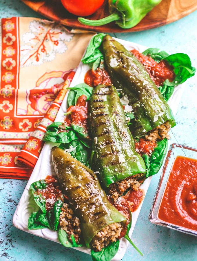 Sausage & Mushroom Stuffed and Grilled Peppers