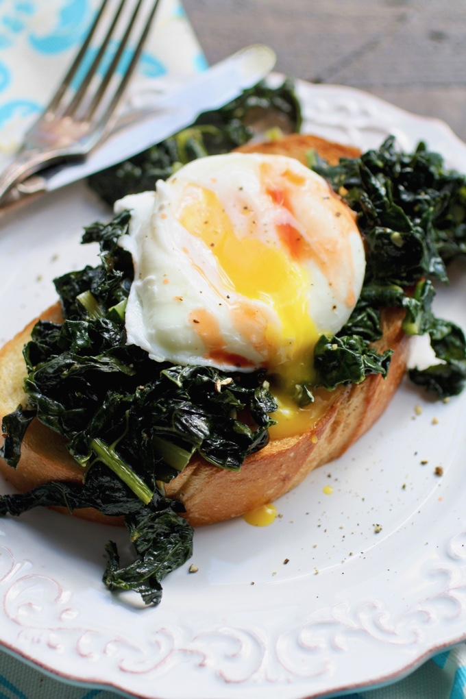 Sauteed Kale on Toast with Poached Eggs is a breakfast treat. You'll want to make this dish today!