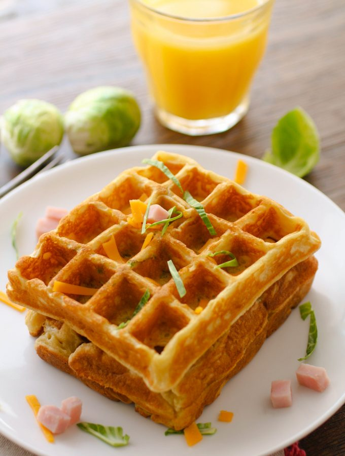 Savory waffles with ham, cheddar, and Brussels sprouts are perfect for leftovers! You'll love this combo!