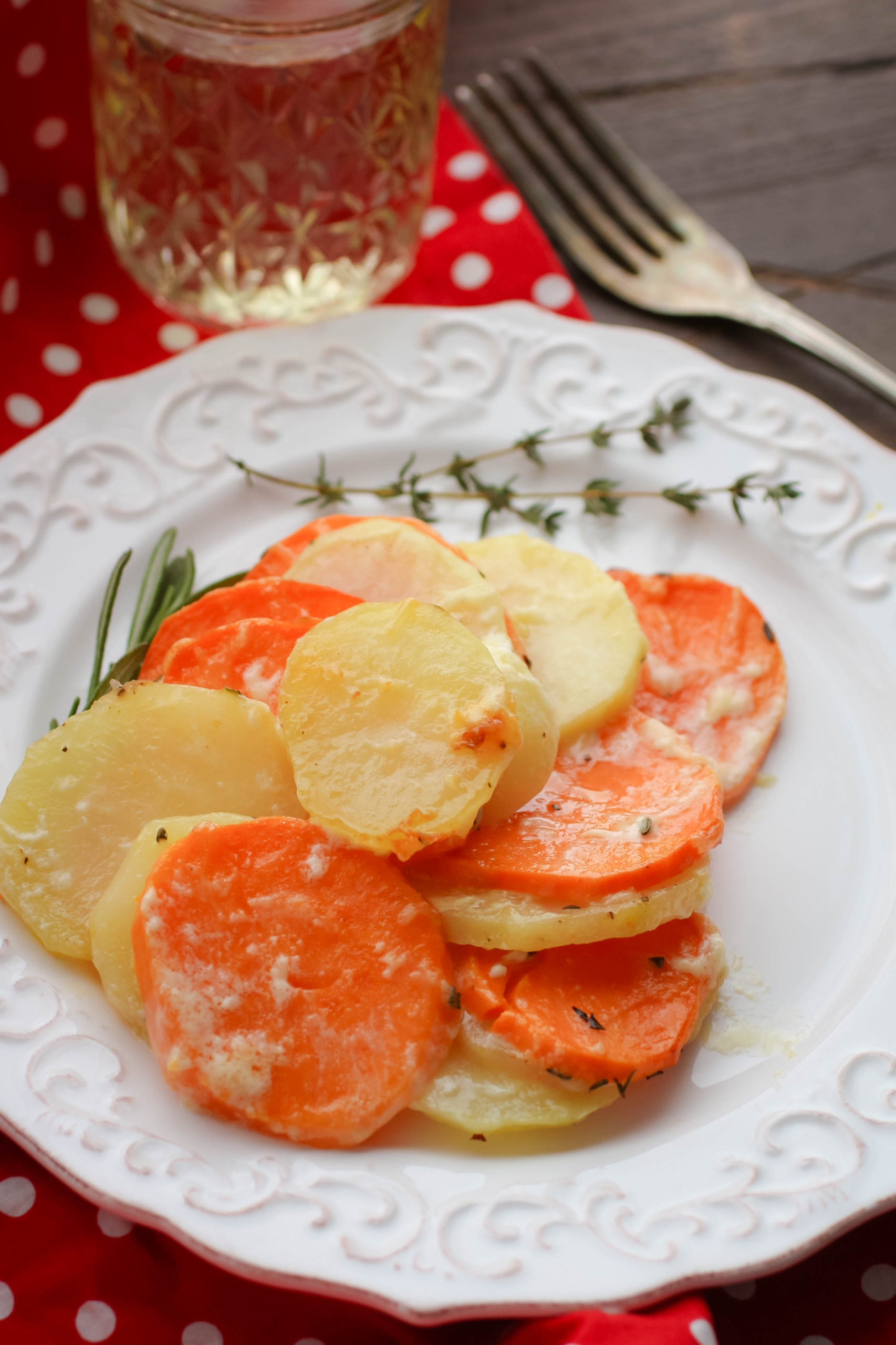 Serve up a plate of creamy Scalloped Yukon Gold and Sweet Potatoes