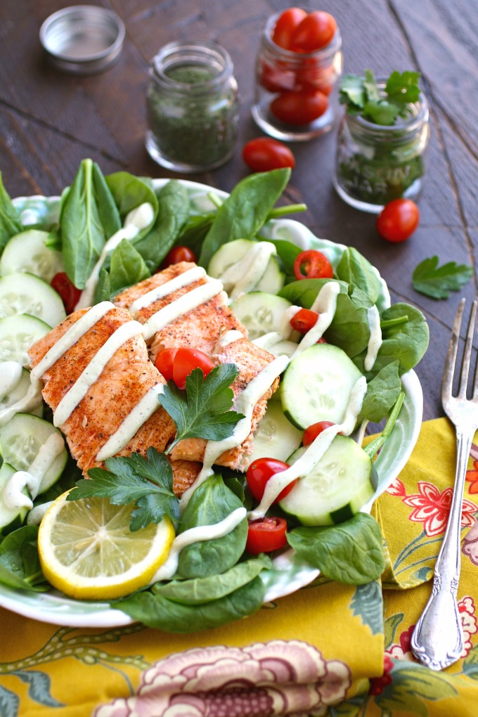 Salads are perfect for summer meals, especially when you include salmon, spinach, and a creamy, dairy-free herbed dressing1