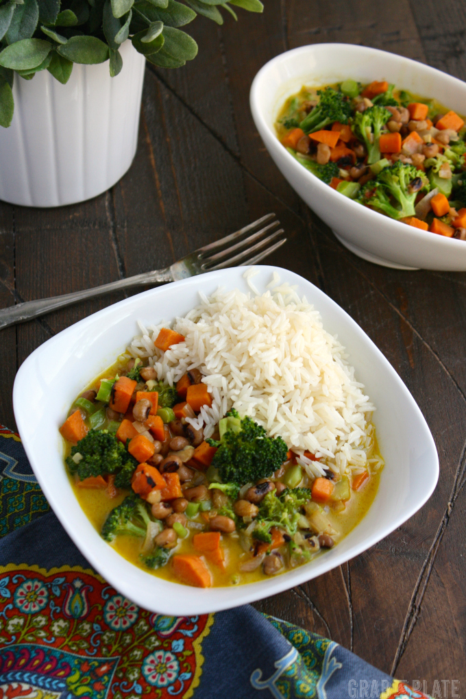 A wonderful dish, Sweet Potato & Black-Eyed Pea Curry is filling and hearty!