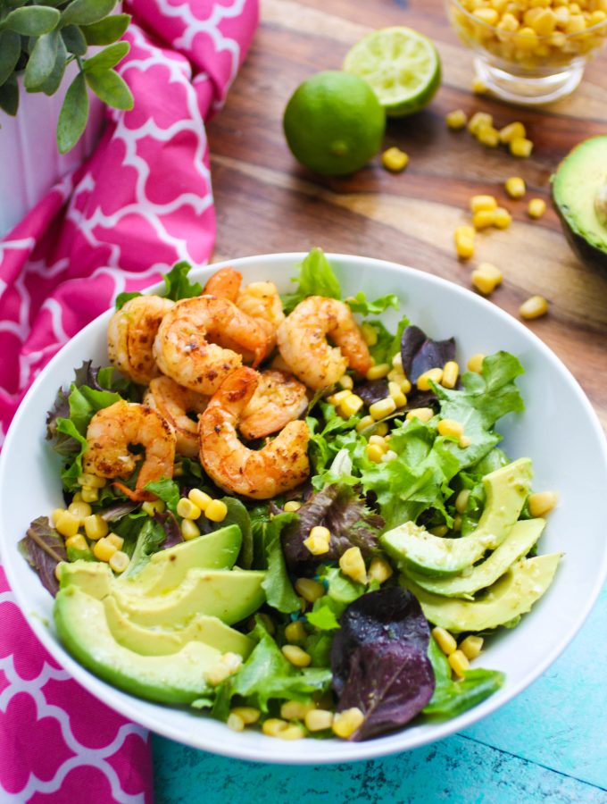 Simple Skillet Shrimp Salad with Lime Vinaigrette