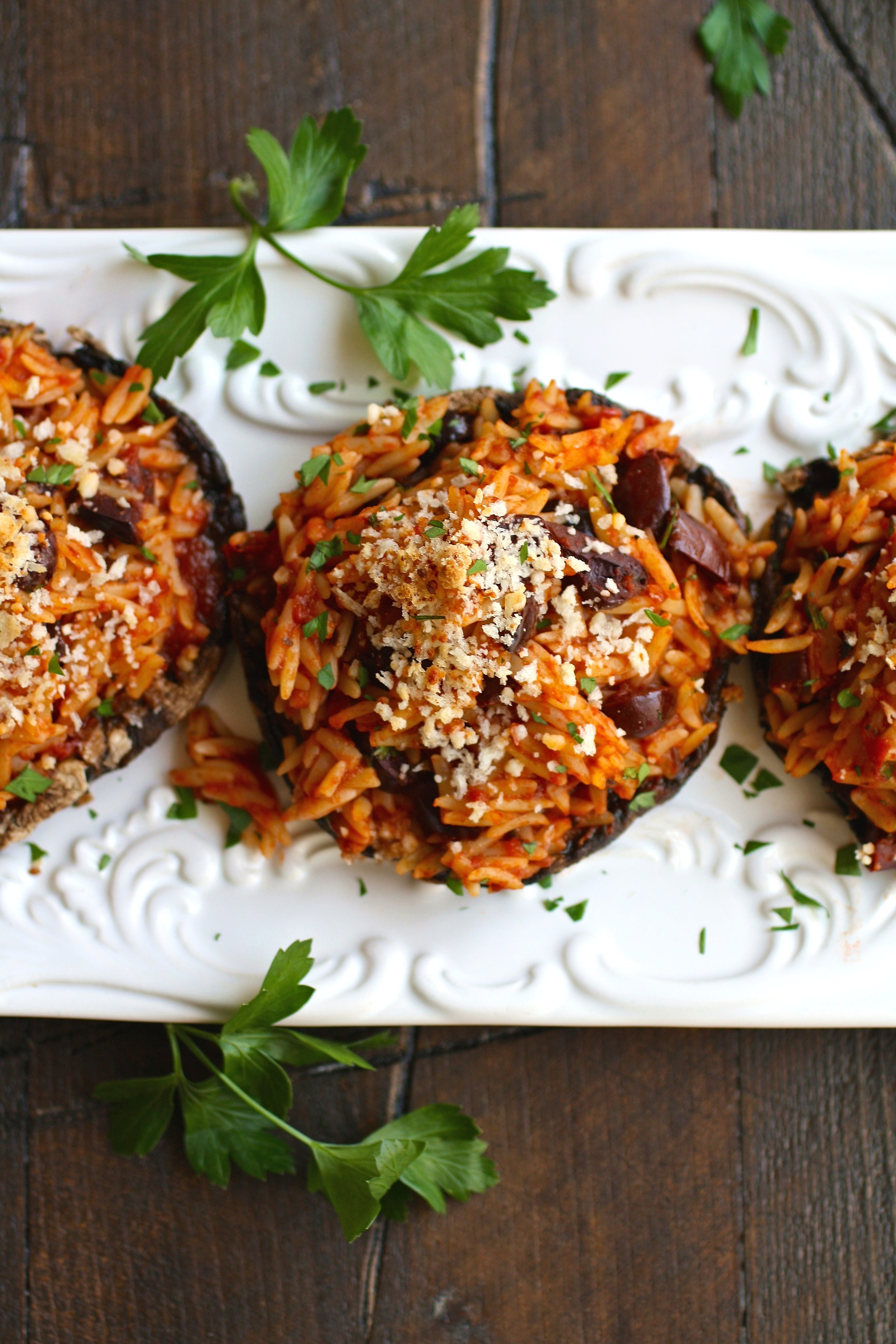 Dig in! This recipe for Orzo & Olive Stuffed Portobello Mushrooms is delicious!