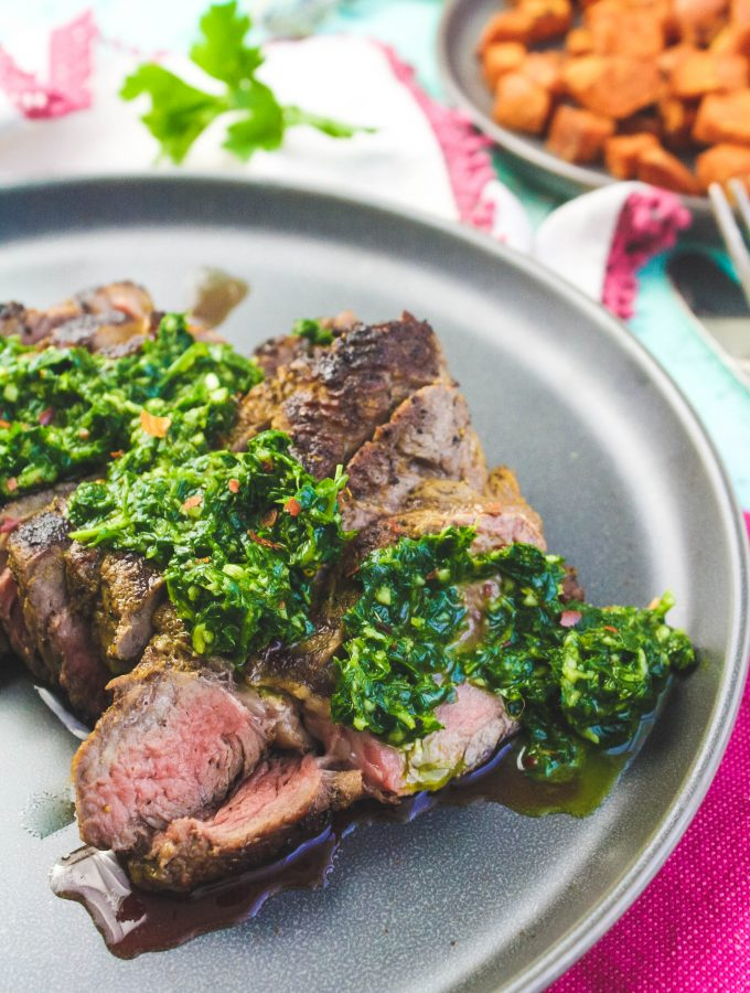 Skillet-Cooked NY Strip Steak with Chimichurri Sauce
