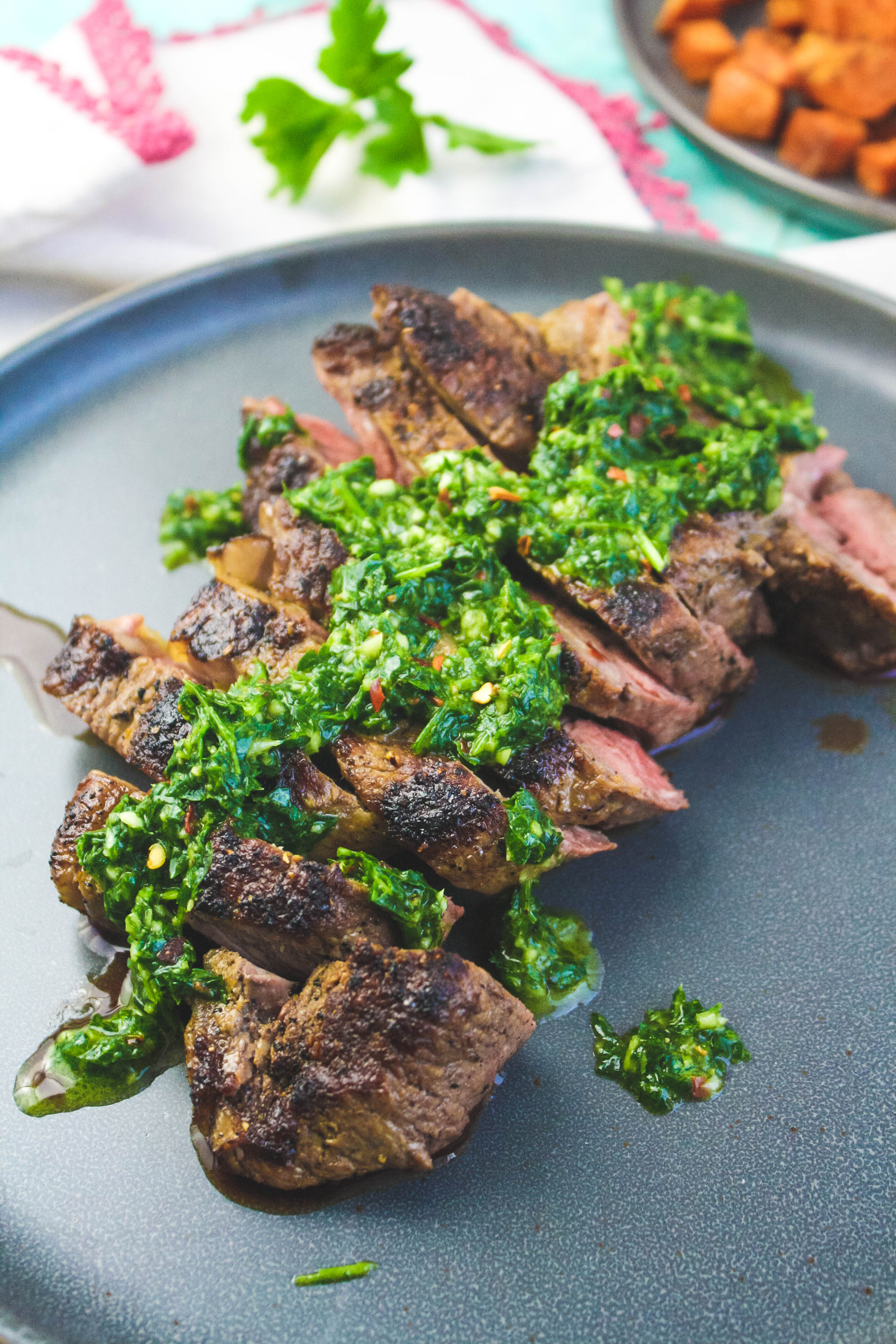 Skillet-Cooked NY Strip Steak with Chimichurri Sauce is full of great flavor for a main dish. Skillet-Cooked NY Strip Steak with Chimichurri Sauce is easy to make for a lovely main dish.