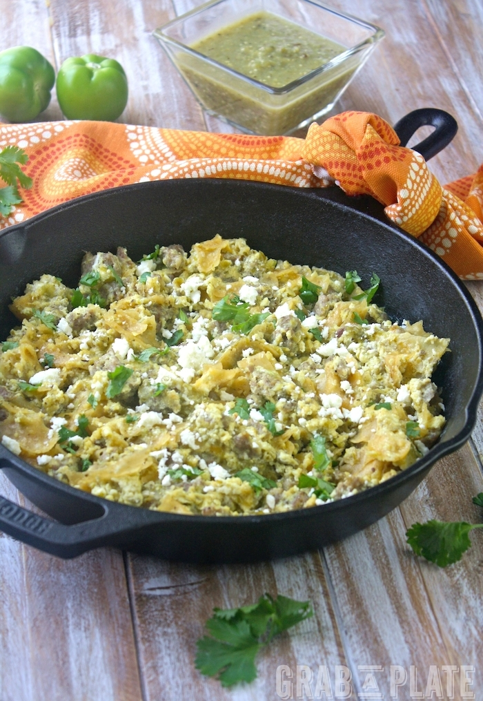 Enjoy breakfast and serve Skillet Pork Migas with Roasted Tomatillo Salsa
