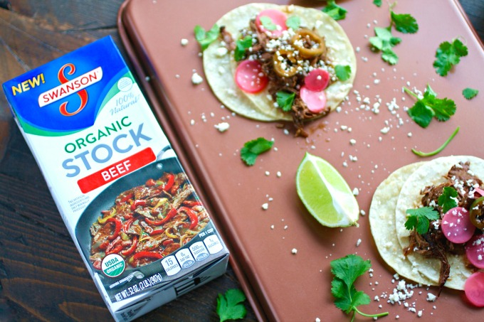 You'll really enjoy Slow Cooker Beef Carnitas Tacos with Spicy Pickled Radishes!